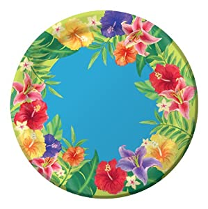 Creative Converting 25 Count Party Pack Round Lunch Plates, Luau Hibiscus Heat from Creative Converting