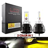 CAR ROVER H3 LED Fog Lights Lamps Replacement - Dual Color In 1 (6000K/3000K) - Pack of 2