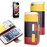 ATC PU Leather Quality Wallet Case for iPhone 5 Horizontal with Credit Card Slots & Holder Leather Case (Sprint, AT&T Verizon and International Carriers)(Yellow+Black+Red)
