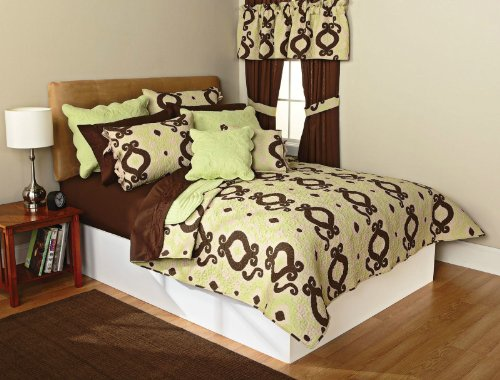 Logan Printed Embroidered Twin Quilt Set Tarragon Coffee 100% Cotton