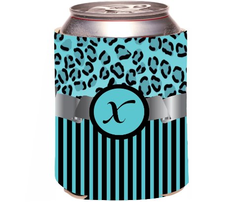 "Rikki Knight Beer Can Soda Drinks Cooler Koozie, Letter ""X"" Initial Monogrammed Design, Leopard Print And Stripes, Sky Blue front-642006"