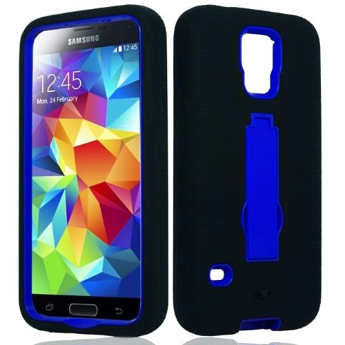 Mylife (Tm) Raven Black And Electric Blue - Shock Suit Survivor Series (Built In Kickstand + Easy Grip Silicone) 3 Piece + 2 Layer Case For New Galaxy S5 (5G) Smartphone By Samsung (External Flex Silicone Bumper Gel + Internal 2 Piece Rubberized Snap Fitt
