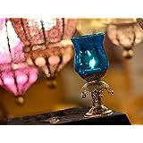 Handicraft Cafe Candle Holder Cum Table Lamp Blue
