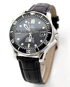 20mm Classic Black Crocodile Grain Leather Watch Strap For Omega Seamaster Professional