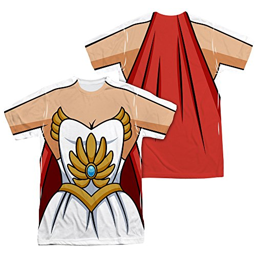 SHE RA/COSTUME (FRONT/BACK PRINT)-S/S ADULT POLY CREW-WHITE-SM