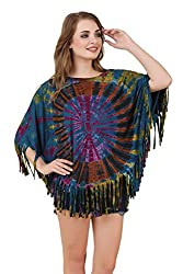 Mojeska Women's Handmade Poncho Tie Dye Top / Cover Up Teal Butterfly Style