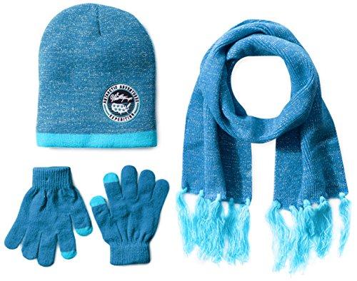 Weatherproof Big Girls' Fine Rib Knit with Lurex Beanie, Gloves and Scarf