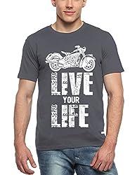 Adro Men's Round Neck Cotton T-Shirt (Dark Grey)
