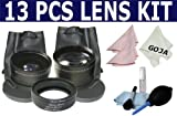 Essential Kit for CANON Rebel (XT, XTi, XSi T1i, T2i, T3i, T3), CANON EOS (7D 60D 550D 500D 450D 400D 350D 300D) Includes: Professional 58mm 0.45x Wide Angle (w/ Macro Portion) & 2.0x Telephoto Lenses (with Adapter Ring Set) + Cleaning Kit