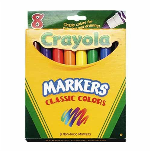 Crayola LLC - Classic Markers,Broad Tip,8/PK,RD/OE/YW/GN/BE/BN/BK/VT