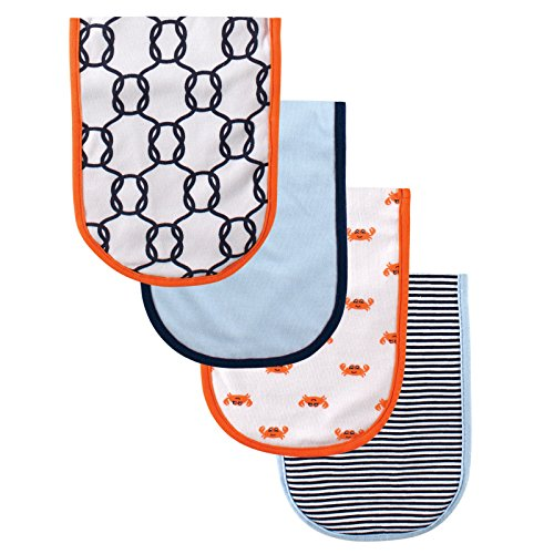 Luvable Friends 4 Piece Curved Burp Cloth, Crab