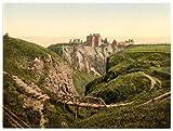 Victorian View of Dunottar Castle, Stonehaven, Scotland, Large A3 size 41 by 28 cm Canvas Textured Fine Art Paper Photo Print