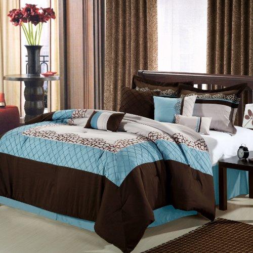 Chic Home Mustang 8-Piece Comforter Set, Queen, Brown front-1004527