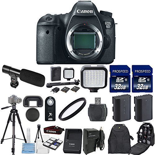 Canon EOS 6D 20.2MP Full Frame DSLR Camera Body Only with 2pc Commander 32GB Memory Cards + LED Light + Extra Battery + Card Reader + UV Filter + Backpack Case + Tripod (14 Items) (Dial Canon 6d compare prices)