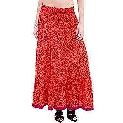 TUNTUK Women's Godela Skirt Orange Cotton Skirt