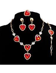 Beora Gold Plated Austrian Diamonds Red Heart Jewellery Set