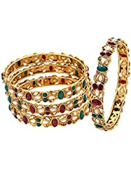 Zeneme Gold Plated Red And Green Designer Bangles Jewellery For Women / Girls