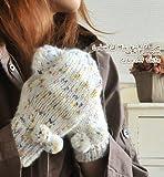 ポンポン付カラフルMIXニットミトン型手袋
