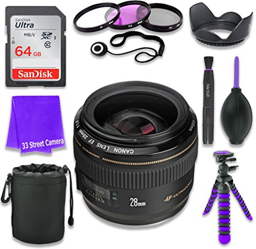 Canon EF 28mm f/1.8 USM Wide Angle Lens for Canon DSLR Cameras & SanDisk 64GB Class 10 Memory Card + Complete Accessory Kit (11 Items) (Canon Long Range Lens compare prices)