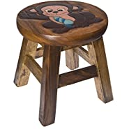 Monkey Hand Carved and Hand Painted Wood Footstool