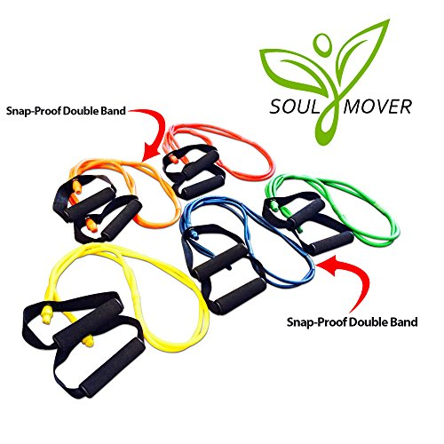 Resistance Bands - Best P90X Exercise Bands On Amazon! Love Them Or Your Money Back! Maximize Your Workouts, Reach Your Goals Faster, 5-In-1 With Snap Block Technology! 10lb, 15lb, 20lb, 25lb, & 30lb