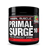 PRIMAL SURGE 10X - Voted Best Pre Workout Drink For Men & Women. Used For Preworkout Energy, Muscle Building, & Fat Loss. Great Tasting Watermelon Flavor - 30 Servings