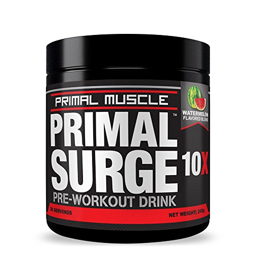 Primal SURGE Pre Workout Supplement - Best Nitric Oxide Preworkout Energy Drink with Beta Alanine & Taurine - NO Side-Effects - Sustained Energy & Endurance for Men & Women | Watermelon - 30 Servings (Pre Workout Energy Supplement compare prices)