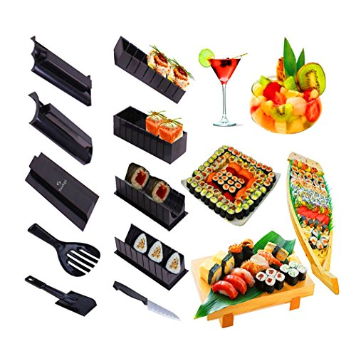 Saebye Sushi Maker, 11pcs Kitchen Sushi Making Kit Roll Mold for Maki Sushi / Rice Roll