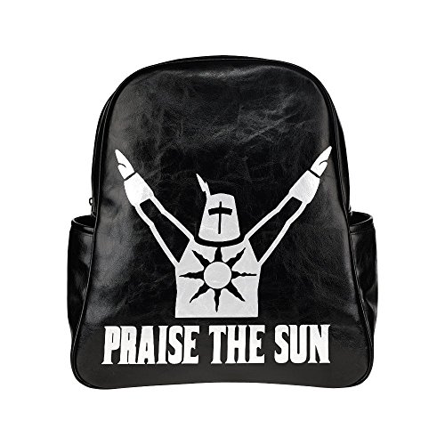 [Praise The Sun Unisex Pu Leather Computer Laptop Backpack, Travel Bag Hiking Knapsack,School College Student Backpacks Shoulder Bags for] (Dark Souls Black Knight Costume)