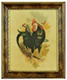 Vintage Country Kitchen Artwork, Print of Black and White Rooster Set Under Glass in Exquisite Burl Style Frame