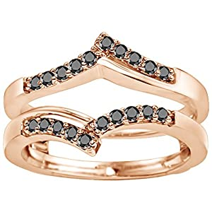 0.38CT Black Cubic Zirconia Chevron Prong Set Wedding Ring Guard set in Rose Gold Plated Sterling Silver (0.38CT TWT Black Cubic Zirconia)
