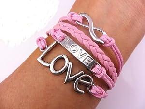 Vintage Silver Infinite Bracelet Love Pink Leather Rope Infinity Knit Punk Style