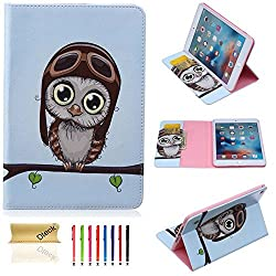 iPad Mini 4 Case, Dteck(TM) Perfect-fit Cartoon Cute Pattern Premium Leather Smart-shell [Card Slots/Money Holder] Flip Stand Cover Case for Apple iPad Mini 4 (03 Big Eyes Owl)