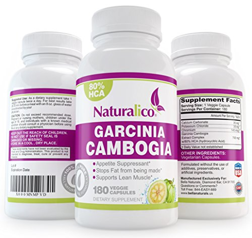 Naturalico® 80% Hca Pure Garcinia Cambogia Extract ★ 100% All Natural Weight Loss And Appetite Suppressant Supplement Capsule, 180 Count ★ This Offer Is For One Bottle Manufactured In A Usa Based Gmp Certified Facility And Third Party Tested For Purity. G
