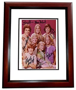 Autographed McCormick Photograph - The Brady Bunch CAST 8x10 MAHOGANY CUSTOM FRAME Florence Henderson Barry Williams Maureen Lookinland Susan Olsen Christopher Knight Eve Plumb