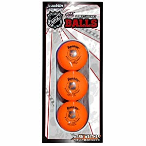 Franklin Sports NHL High Density Street Hockey Ball, Orange, 3-Pack