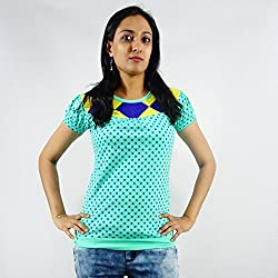ShopMore Cotton T-Shirt(Light-Green_Large)