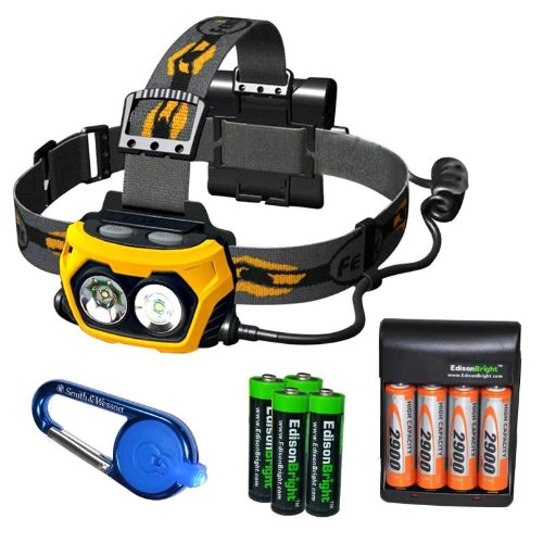 Fenix Hp25 360 Lumen Led Flood/Spot Combination Light Headlamp With Four 2900Mah Rechargeable Ni-Mh Aa Batteries, Charger, Smith & Wesson Led Carabeamer Clip Light And Four Edisonbright Aa Alkaline Batteries