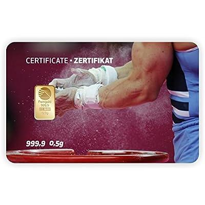 Goldbarren Geschenkkarte 0,5 g 0,5g Gramm Feingold 999.9 Nadir Gold Sport Turnen