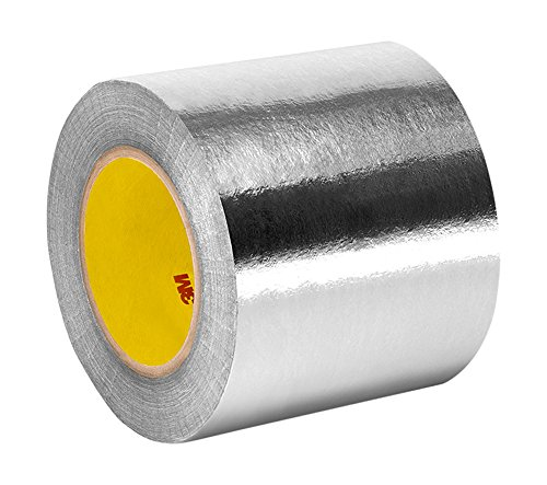 """Tapecase 363 4"""" X 36Yd Silver Aluminum Foil/Glass Cloth/Silicone 3M 361 High Temperature Adhesive Electrical Tape, -65 Degrees F To 600 Degrees F, 36 Yd Length, 4"""" Width"""
