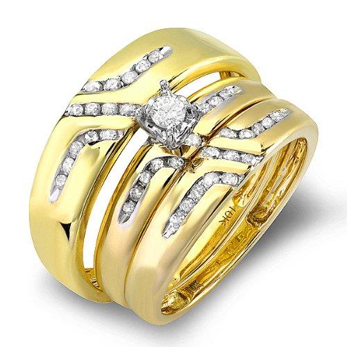 0.55 Carat (ctw) 10K Yellow Gold Round White Diamond Men & Women's Diamond Ring Trio Set