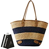 Donalworld Women Stipes Large Capacity Woven Handmade Crochet Beach Tote Handbags