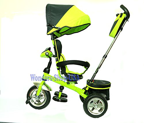 New-3-in-1-Trike-Kid-Tricycle-for-Toddler-with-Adjustable-Seat-Stroller-Ride-On-with-Canopy-Shade-and-LED-Lights-and-Sound-GREEN-Color