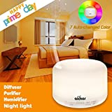 Aickar Ultrasonic Essential Oil Diffuser with 500ml Capacity, 7 Changed Color and Auto Shut-off Function - White