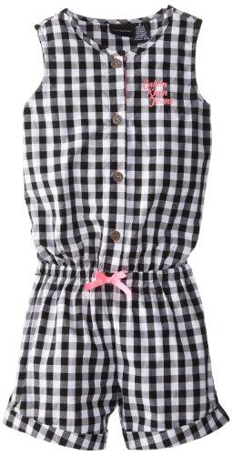 Calvin Klein Little Girls' Black And White Plaided Romper, Black/White, 6 front-667216