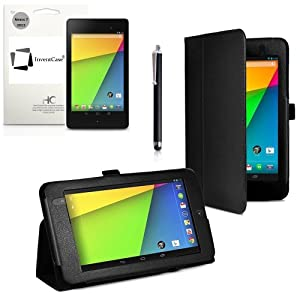 """Neuf InventCase® NOIR (BLACK) Étui/Housse en cuir peau de Couverture de cas Folio pour le Nouveau Google Nexus 7 FHD 2013 (7 pouces) Tablet Jelly Bean Android 4.3 (16 GB / 32 GB WiFi / 4G LTE) avec Auto Sommeil (""""Sleep Function"""") / Multi-Vue Levez-Vous et Protecteur D'écran et Stylet (Compatible avec Nexus 7 FHD 2 2.0 Tablet II)"""