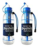 $averPak 2 Pack - Includes 2 Seychelle 20oz Extreme Water Filter Bottles (Blue)