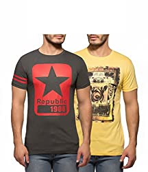 Yo Republic Mens Cotton Tshirt Combo Offer (Pack of 2)(AT-0047-1L_Dark Grey_Yellow_Large)
