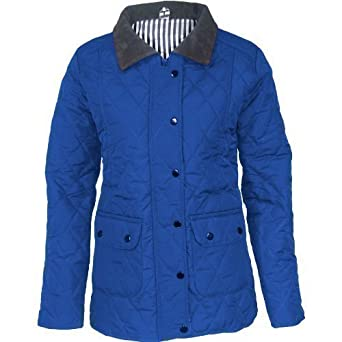 Womens Bar-ber Jacket Ladies Long Sleeve Zip Up Button Quilted Warm Coat 8-16 UK (UK 6-8 (S), ROYAL)
