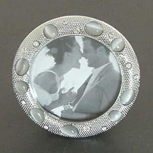 runder bilderrahmen silber look strass steine perlen. Black Bedroom Furniture Sets. Home Design Ideas